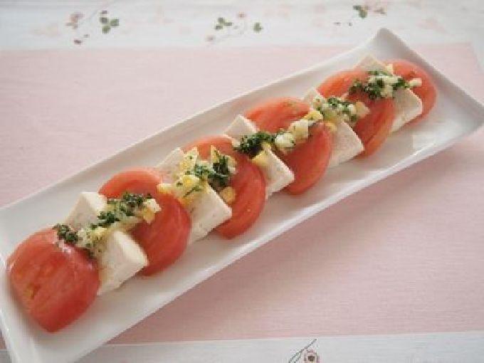 豆腐とトマトのレモン塩カプレーゼ